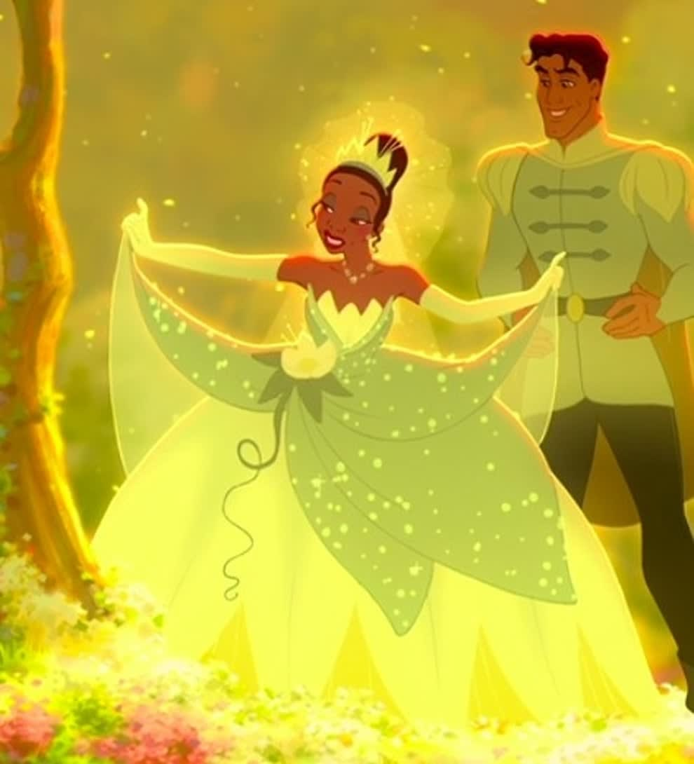 Tiana wears a ball gown