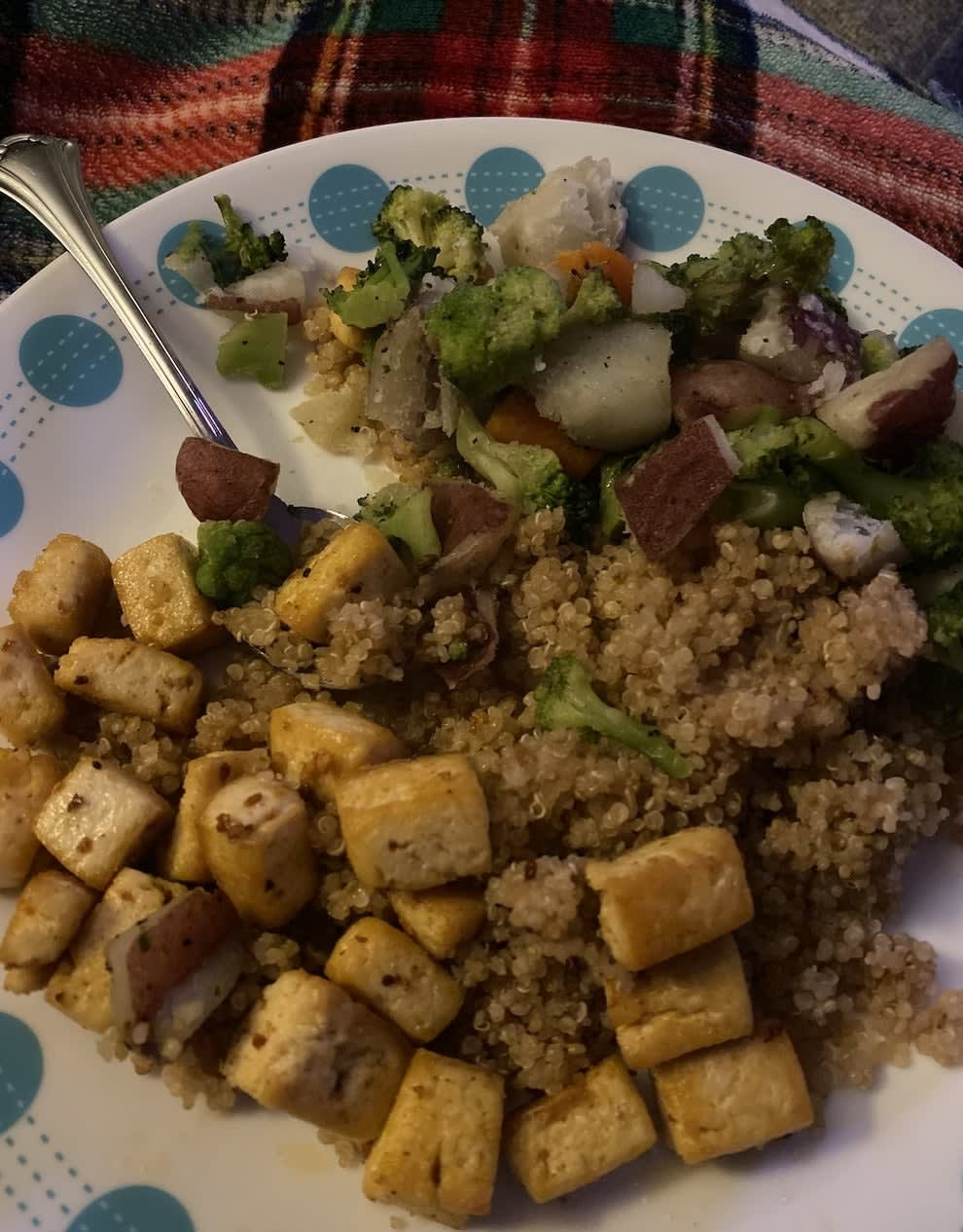 A plate of tofu and vegetables