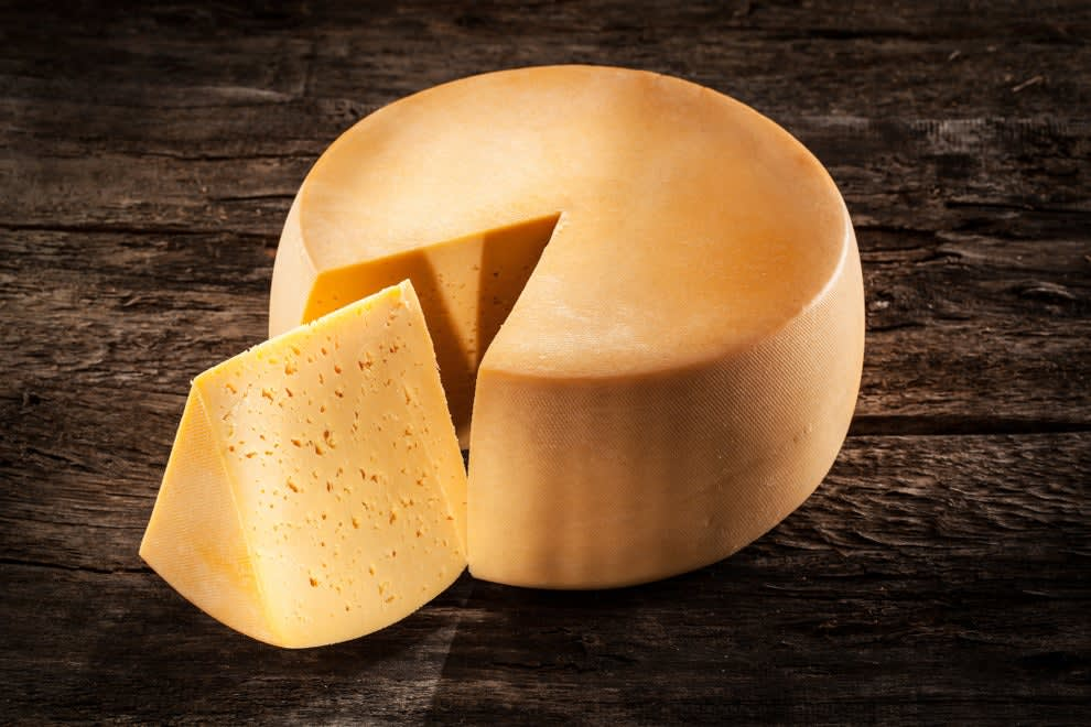 A wheel of cheese