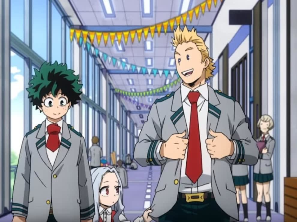 A school festival in anime; there are banners hanging inside the school corridors
