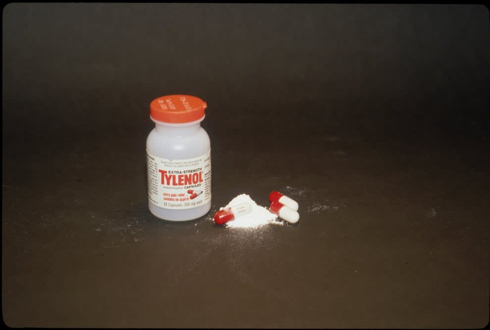 A tylenol bottle and capsule from the early 80s