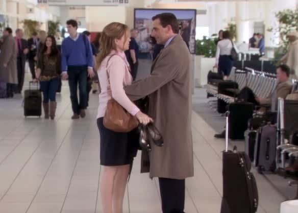 Michael hugging Pam goodbye at the airport