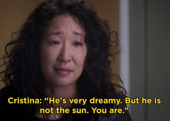 """Cristina saying, """"He's very dreamy. But he is not the sun. You are"""""""