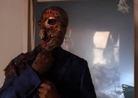 Gus, burned, fixing his tie