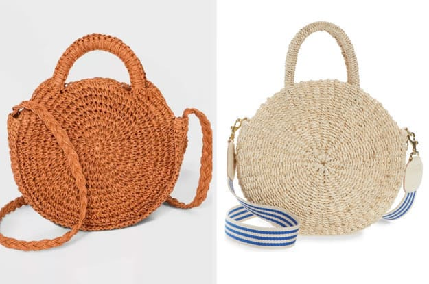 A bolsa da esquerda é fabricada artesanalmente desde Abacá e tem uma alça curvada no topo, além de uma alça comprida. A bolsa da direita tem um formato redondo, é fabricada a partir de palha.