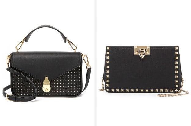 A bolsa da esquerda tem uma alça comprida, couro por fora e uma finalização impecável. A bolsa da direita é uma bolsa de mão feita de couro com uma alça para o ombro de correntes.
