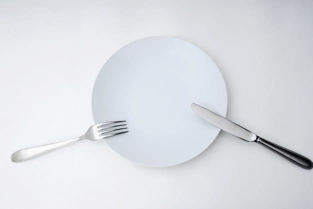 Prato com garfo e faca