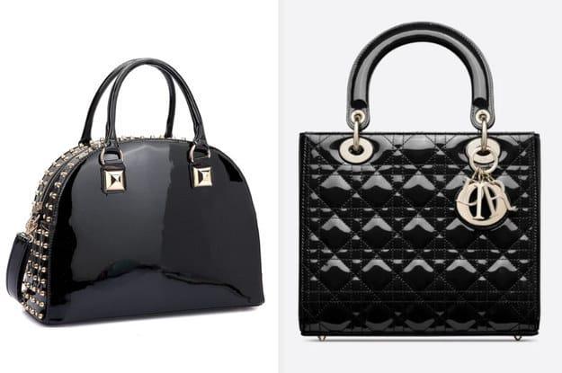 A bolsa da esquerda é fabricada a partir de um couro patenteado cravado com pequenas saliências ao redor do zíper enquanto a bolsa da direita é fabricada a partir de um couro preto de bezerro patenteado e possui uma alça de ombro ajustável.