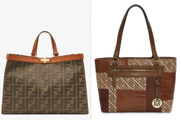 A bolsa da esquerda é feita de pano e tem detalhes em relevo enquanto a bolsa da direita é fabricada a partir de couro falso e também tem detalhes em alto relevo.