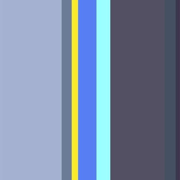 Imagem de uma paleta com as cores azul, cinza e amarela.
