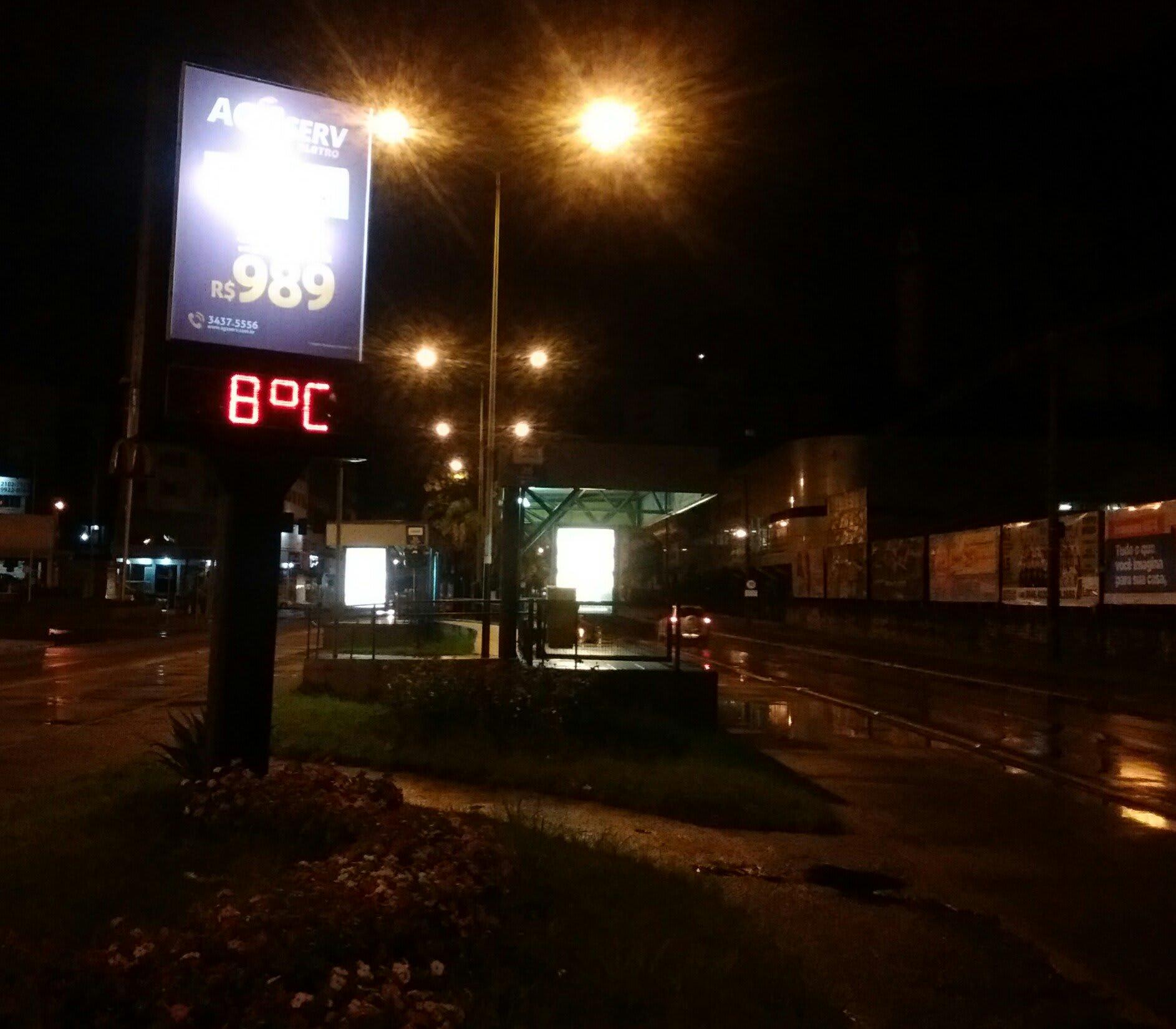 Termômetro de rua apontando 8°C
