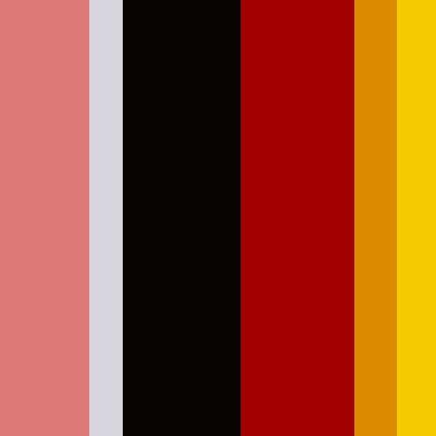 Imagem de uma paleta com as cores rosa, preto, vermelho e amarelo.