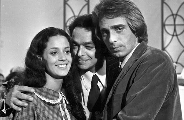 Imagem antiga da atriz Sônia Braga junto com Edney Giovenazzi e João Paulo Adour.