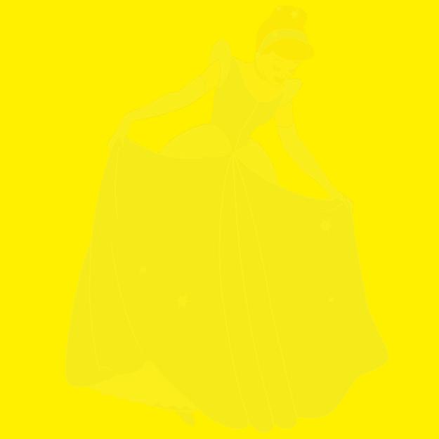 Imagem de um personagem da Disney no fundo de um quadrado amarelo.