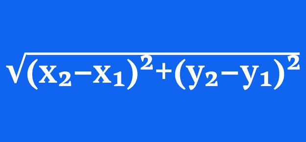 √((x₂–x₁)²+(y₂–y₁)²)