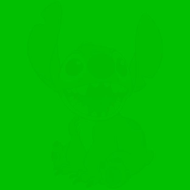 Imagem de um personagem da Disney no fundo de um quadrado verde.