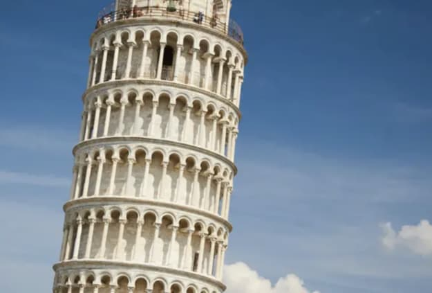 A giant tower that's leaning to one side