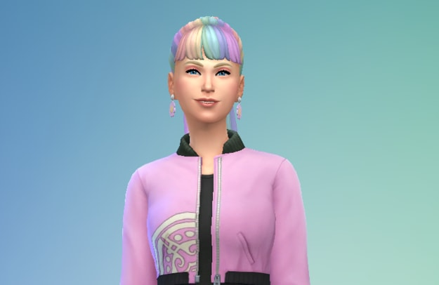 teen girl with a high ponytail and bold clothes