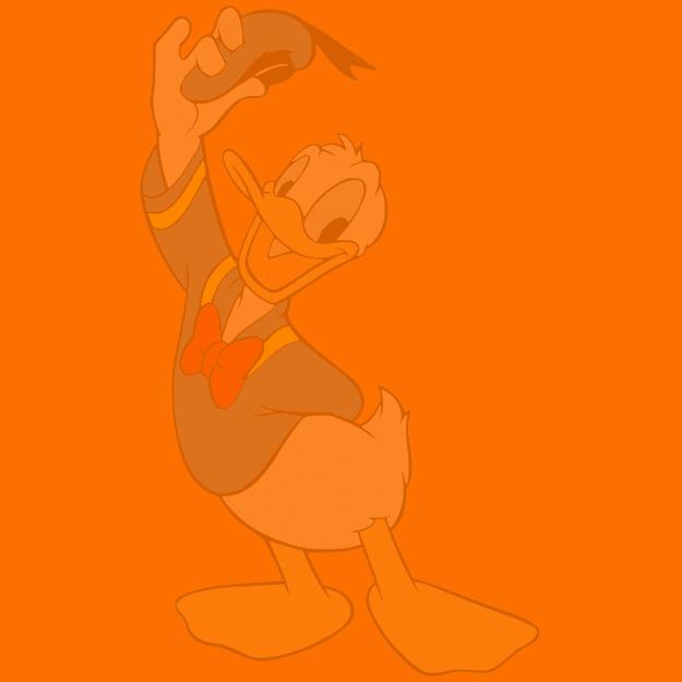Imagem de um personagem da Disney no fundo de um quadrado laranja.