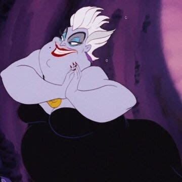 """Ursula from """"The Little Mermaid"""" rubbing her hands together in glee"""