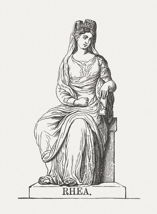 An illustration of Rhea sitting on a chair