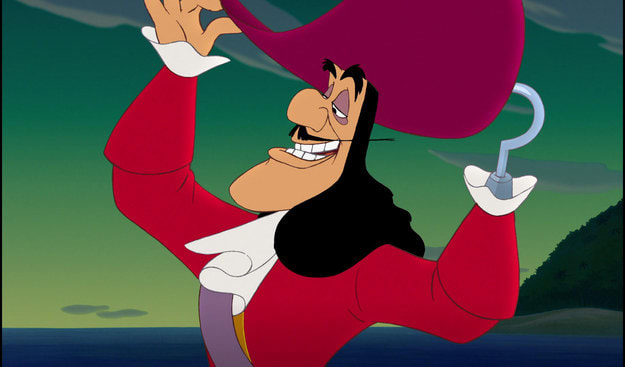 """Captain Hook from """"Peter Pan"""" adjusting his hat in a smug way"""