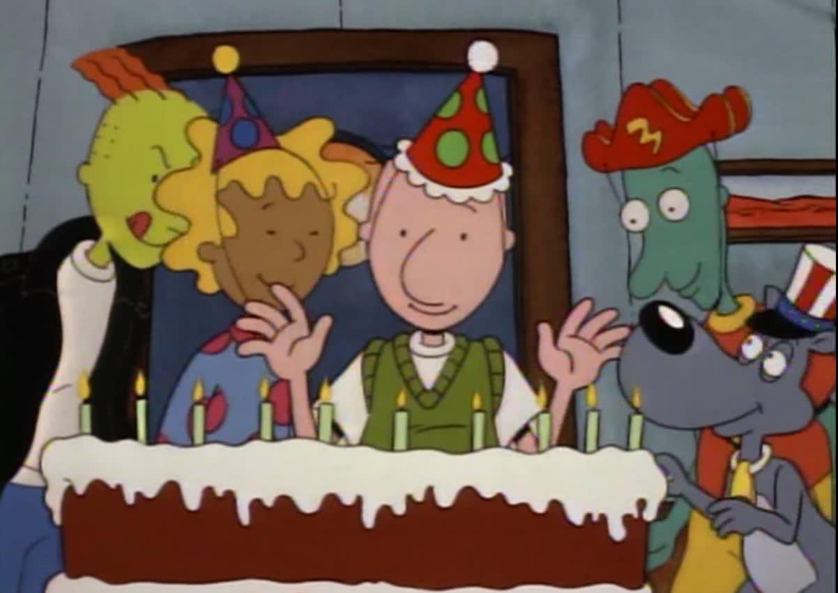 Doug comendo bolo de aniversário