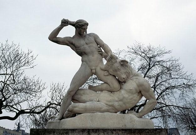A statue in Paris depicting Theseus slaying the minotaur