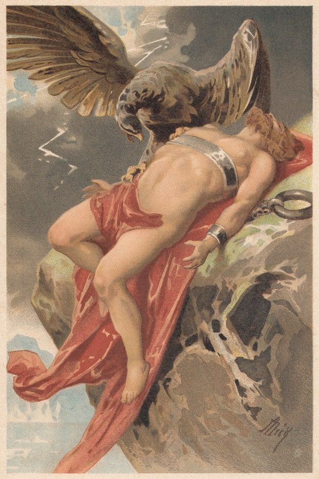 A painting of Prometheus chained to a rock with an eagle perched over him