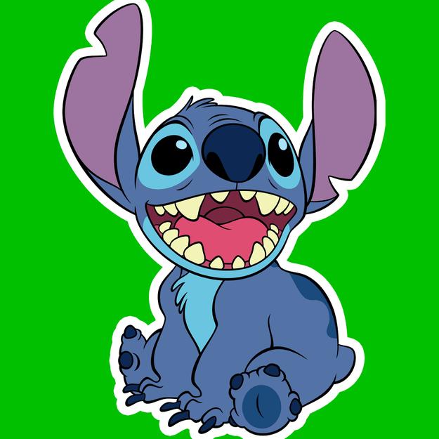 Imagem do Stitch na frente de um quadrado verde.