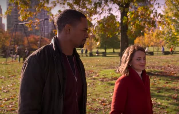 Scene where Nick Evans, played by Damon Wayans, Jr., is walking in a park during the fall with Susan Whitaker, played by Rachael Leigh Cook