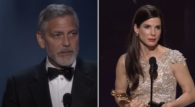 Side-by-side of George Clooney and Sandra Bullock