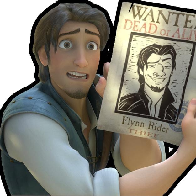 Imagem do Flynn Rider na frente de um quadrado branca.