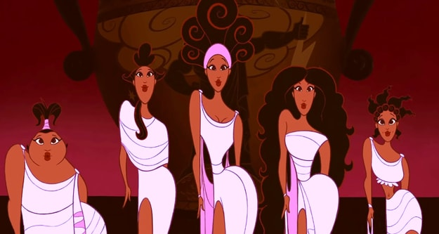 """The five Muses from """"Hercules"""" are lined up in front of a huge vase singing and dancing"""