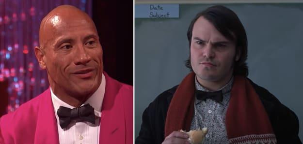 "Side-by-side of Dwayne ""The Rock"" Johnson and Jack Black"
