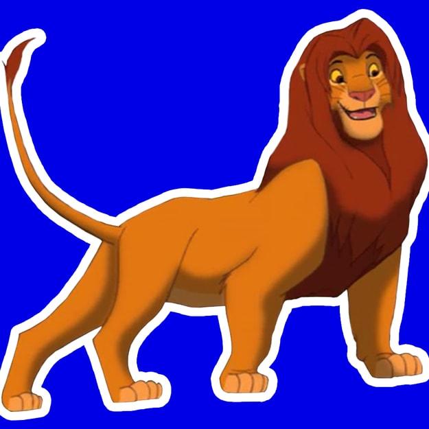 Imagem do Simba na frente  de um quadrado azul.
