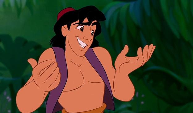 "Aladdin from ""Aladdin"" shrugging in a cheeky way"