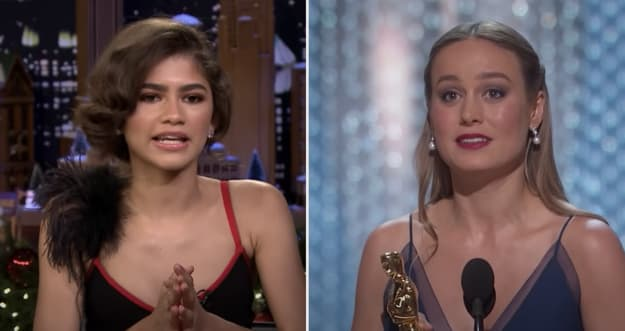 Side-by-side of Zendaya and Brie Larson
