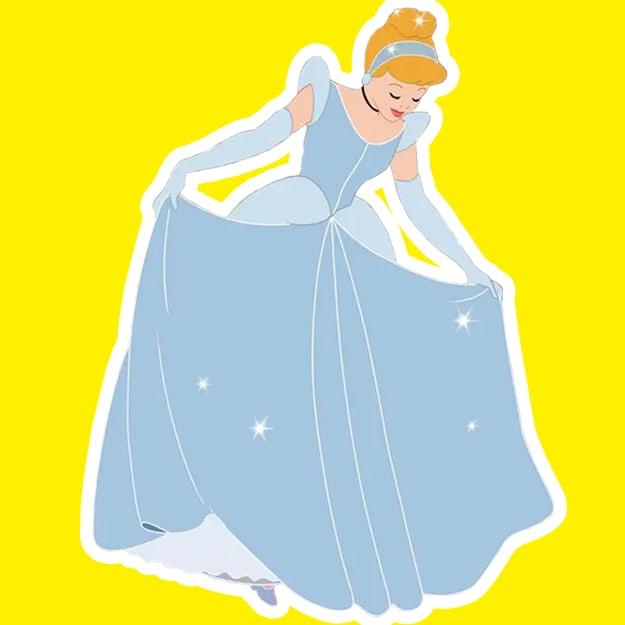 Imagem da Cinderela na frente de um quadrado amarelo.