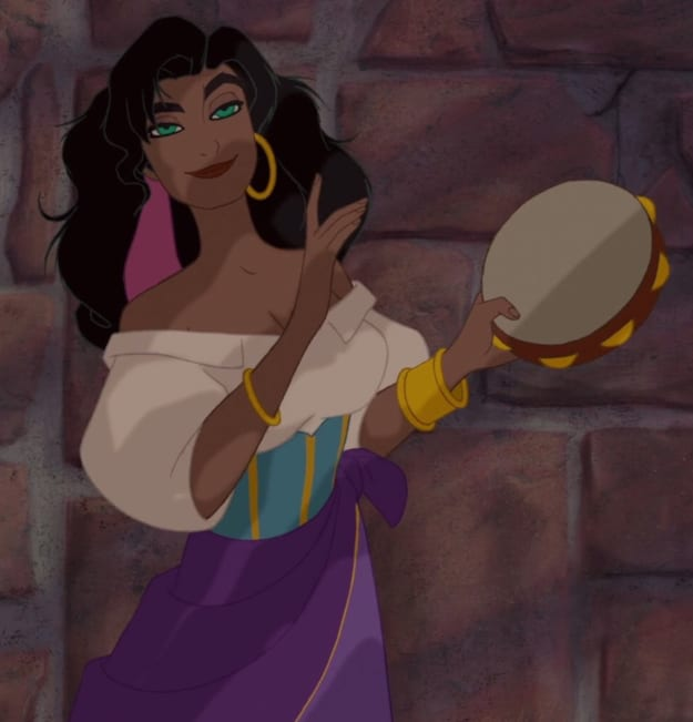 """Esmeralda from """"The Hunchback of Notre Dame"""" playing a tambourine"""
