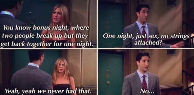 """Ross e Rachel conversam sobre uma """"noite de bônus"""", ou seja, """"só sexo, sem compromisso""""."""