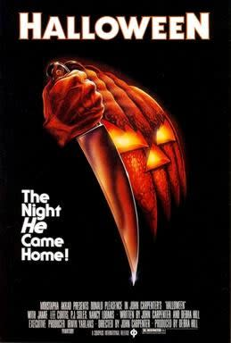 """A """"Halloween"""" promotional poster shows a knife next to a haunted Jack-'ol-lantern"""