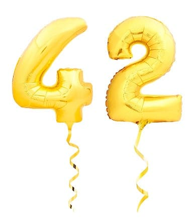"Two balloons read ""42"""