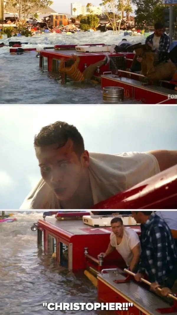 Buck screams for Christopher after her falls off the fire truck into the water