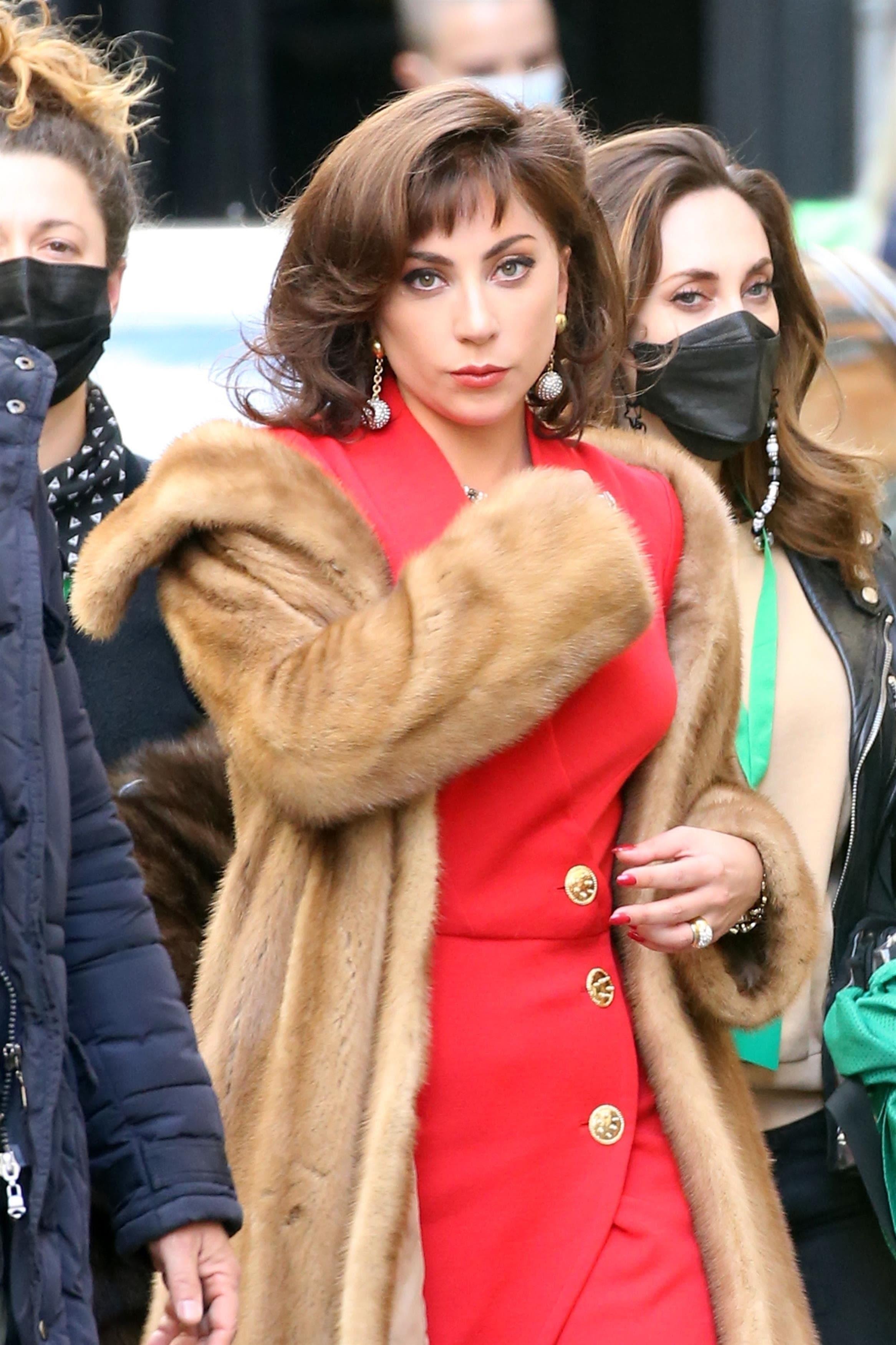 Lady Gaga in a fur coat