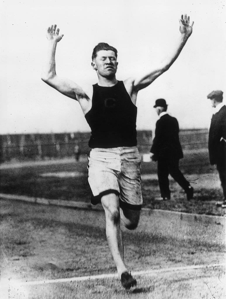 Jim Thorpe finishing a race