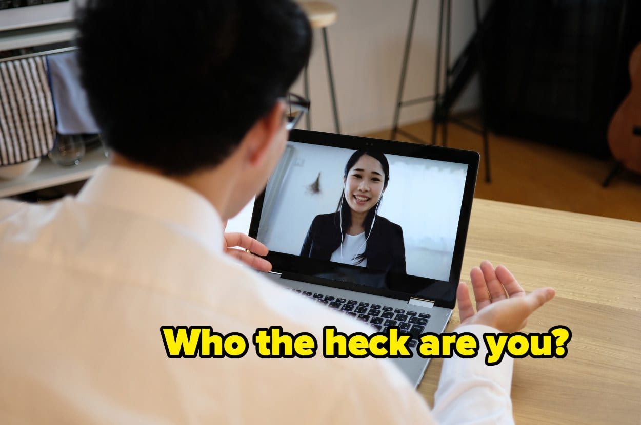 """""""Who the heck are you?"""" over two people having a virtual interview"""