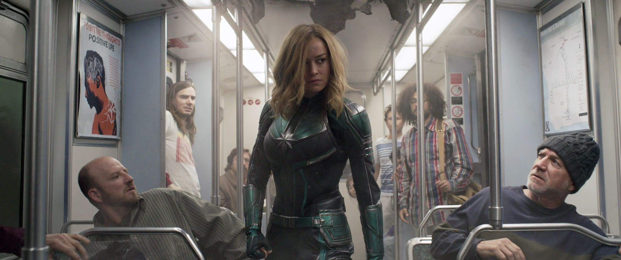 Captain Marvel on a subway