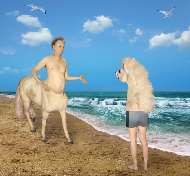 man with horse bottom meets a horse with human legs by the ocean