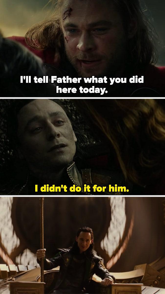 cena da morte de Loki. depois, ele sentado no trono de odin